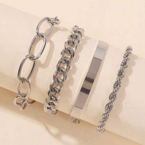 Link Bracelets Silver Layered New